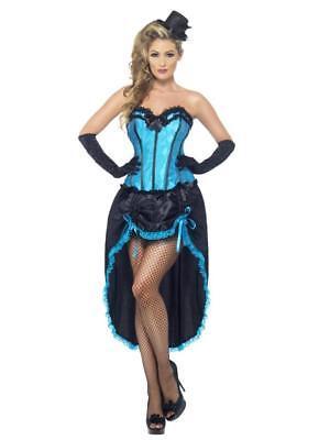 WOMEN'S FANCY DRESS BLUE BURLESQUE DANCER COSTUME CORSET ADJUSTABLE SKIRT