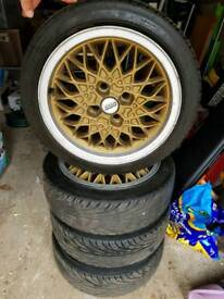 4 x BBS gold wheels with brand NANKANG ultra sport NS-11 165/50R15 tyres. Fit MR2.