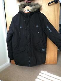 Brave soul hooded knoll parker black coat