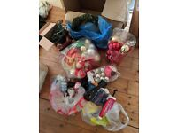 Artificial Xmas tree and big set of decorations (bubbles, balloons, electric lights)