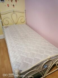 Metal frame bed and mattress