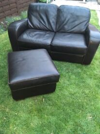 Leather sofa with footstool