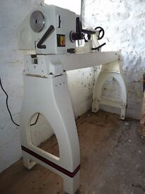 Jet woodturning lathe with heavy duty stand