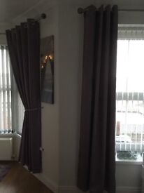 Two Sets of Eyelet Textured Blackout Curtains! Excellent Value!!