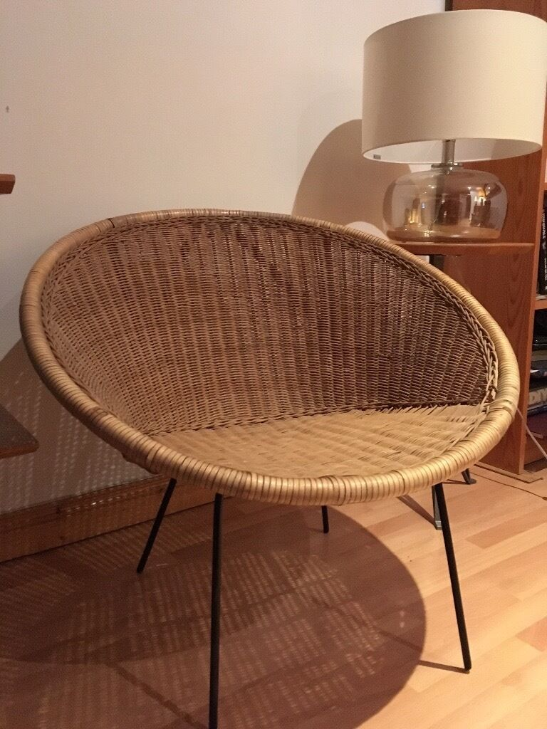 Sold Vintage Retro Mid Century Rattan Cone Chair In