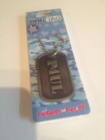 "Name ""PAUL"" personalised dog tag key ring- gun metal colour with chain ***FREE P&P***"