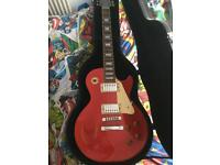 Epiphone les Paul glitter red with 100w Marshall amp with foot pedal
