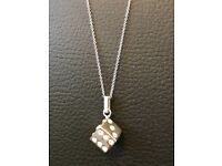 Hallmarked Sterling Silver Dice With Crystal Inserts Necklace