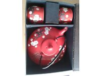 Red Japanese Chinese Design Tea Pot with x2 cups Set cherry blossoms