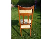 Arts and craft style solid oak dining chairs