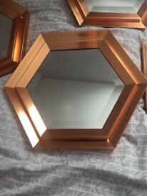 Set of 5 hexagonal copper wall mirrors