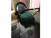 Silver Cross Green Pram/Pushchair (Excellent Condition)