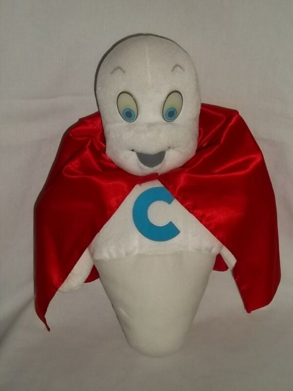 "1994 Amblin 15"" Plush SUPER CASPER Friendly Ghost Glow In Dark Eyes White CAPE"