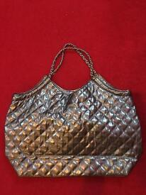 Silver bag with chain