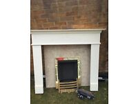 Fire surround, marble insert and gas fire