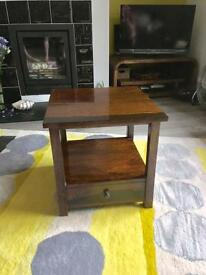 Dark wood mango coffee side bedside table with draw