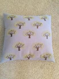 Pair of light grey and lime green tree cushions
