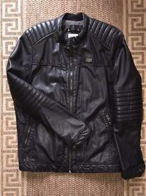 Pull&Bear Synthetic Faux Leather Biker Bike Jacket Black Size L