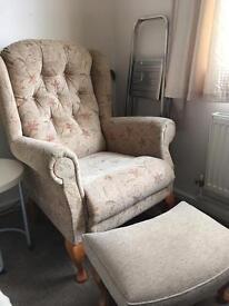 Highback armchair and stool