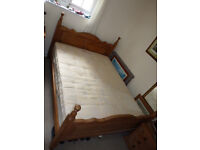 Lovely King size Pine Bed and Matress in Good Condition
