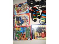 PS2 Buzz Games with four controllers, 4 games