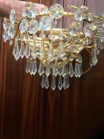 Real glass crystal centre pendant chandelier plus four wall lights