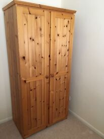 2 doored antique pine wardrobe