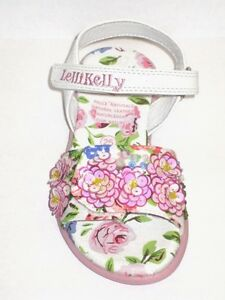 Lelli-Kelly-8511-FIOR-DI-PESCO-1-White-Sandals-shoes-NEW-Pink-Flower-Hand-Beaded