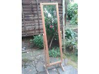 Light wood framed cheval mirror