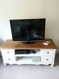 TV Bench French Country Shabby Chic White with Polished Pine Wood Top.