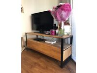 Solid Oak and Steel TV unit