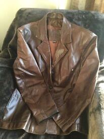 Vintage brown leather jacket, size 12