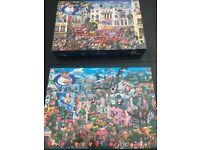 Two 1000 pc puzzles by Gibsons - put together once