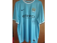 Man City MCFC Shirt - Hand Signed by David Silva & Javi Garcia
