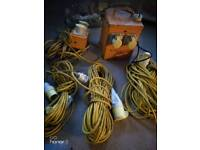 Transformer and home plug, with double extension cord and 3 different lengths and thicknesses