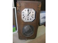 ANTIQUE 19c 'POPOT ORLEANS' FRENCH CHIMING WALL CLOCK. VIEWING/DELIVERY AVAILABLE
