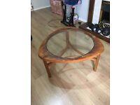 Wood and glass geometric coffee table