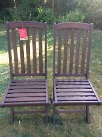 BRAND NEW hardwood folding garden chairs