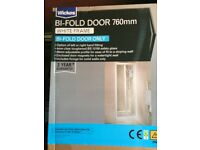 White Frame Bi Fold Shower Door 760mm