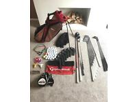 Full Set Of Quality Golf Clubs - Titleist Irons, Taylormade Woods, Cleveland Wedges + Nike Bag.