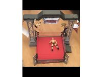 WWE raw real sounds arena - rare wrestling figures + full arena with box