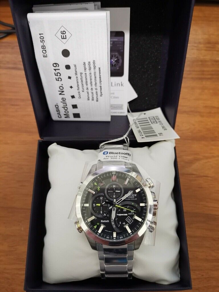 Casio Edifice EQB-501D-1AER SOLAR BLUETOOTH Stainless Steel watch Brand New 151210c4221