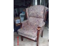high back,winged arm chair