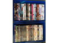 42 DVD 'Teenage Girl' Collection. Mostly Chick Flicks & Action Movies. Plastic storage tubs incl.