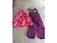 Girls ski jacket and salopettes.