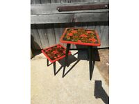 2x Russian Wooden Khokhloma Nesting Flowers Painted Colourful Tables