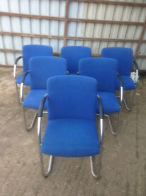 Blue Fabric Cantilever Chairs in Used Condition (4 Available)