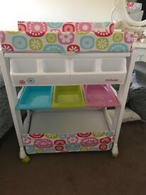 MyBabiie changing table / bath unit like new pink flowers RRP £120
