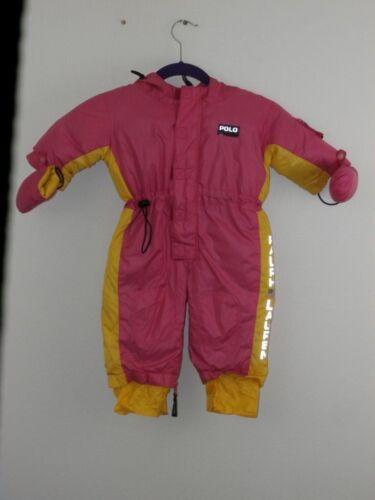 Ralph Lauren Polo Snowsuit SZ 6 12 Months Pink Yellow Puffy Down Baby Girl Snow