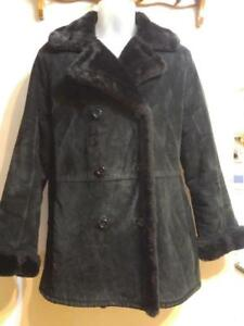 Ladies Warmest BLACK SUEDE WINTER COAT Lined with black fur  M 8 10 Excellent Condition Womens Sexy very cozy Jacket